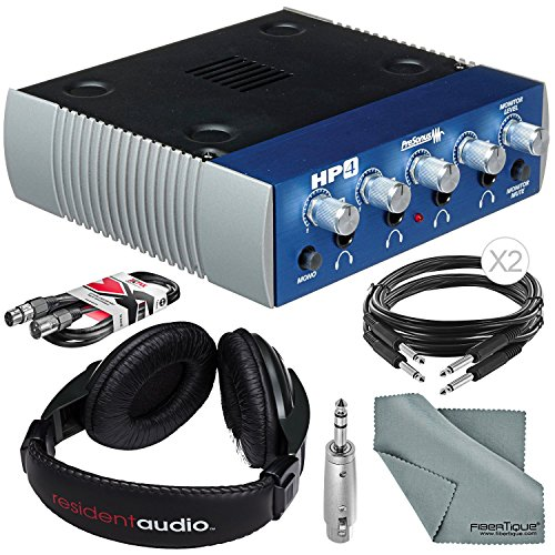 PreSonus HP4 4-Channel Headphone Distribution Amplifier and Bundle w/ Headphones + Cables + Adapter + Fibertique Cloth by Photo Savings