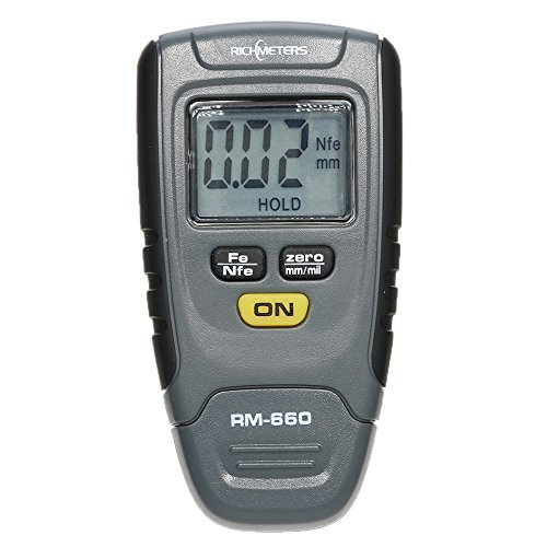 Gauge Aluminum 18 Thickness - KKmoon RM660 Handheld Digital Paint Coating Thickness Gauge Tester Fe/NFe 0-1.25mm for Car Instrument Iron Aluminum Base Metal LCD Display Switchable Units mm/mil