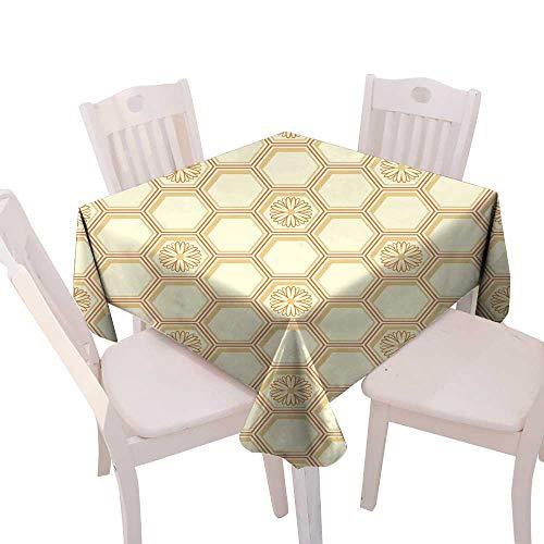 longbuyer Tassel Tablecloth Honeycomb Pattern Square Tablecloth W 60