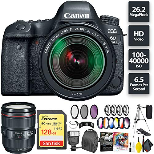 Cheap Canon EOS 6D Mark II DSLR Camera + 24-105mm f/3.5-5.6 Lens + 128GB Memory Card (1x 64) + Canon 24-105mm Lens Zoom Combo