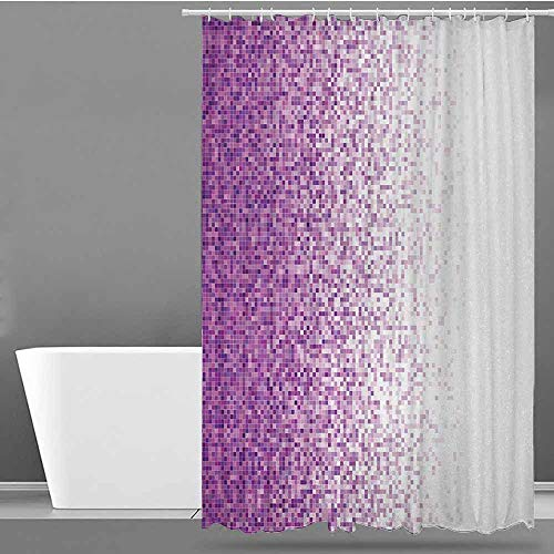 ONECUTE Large Shower Curtain,Magenta Computer Art Style Tile Mosaic Squared Complex Pixel Party Mix Artistic Concept,Shower Hooks are Included,W36x72L Purple White