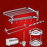 Copper towel rack, bathroom hardware accessories set bathroom towel rack rack six piece Pendant,B