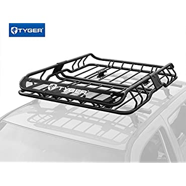 "TYGER Heavy Duty Roof Mounted Cargo Basket Rack | L47"" x W37"" x H6"" 