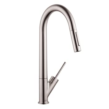 Hansgrohe 10821801 Starck High Arc Kitchen Faucet, Steel Optik ...