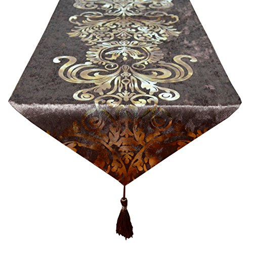 New Hot Stamping Contracted Classic Table Runner (13x98 inch, (Black Brown Kitchen Table)