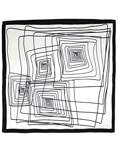 - Dahlia Women's 100% Square Silk Scarf - Abstract Square Neckerchief - White