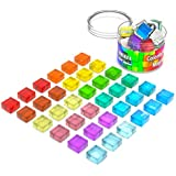 36 Mini Fridge Magnets Strong - Cute Office Magnets Decorative - Dry Erase Magnets for Whiteboard - Colored Glass Magnet Set - Small Refrigerator Magnets Kitchen - Colorful Tiny Squre Magnets 15mm