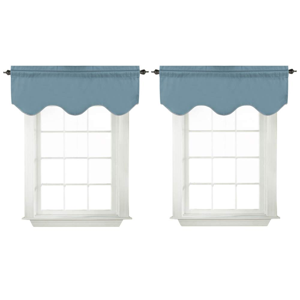 Turquoize Home Fashions Curtain Valances for Windows 52-inch by 18-inch Scalloped Valance for Living Room/Bedroom, Rod Pocket, Citadel,2 Pack