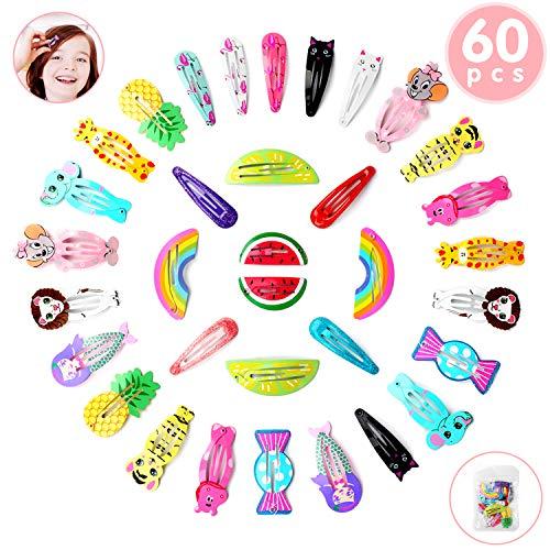 Ucradle Haarspangen Mädchen, 60 Stück Haarclips Karikatur Entwurfs Obst Tiere Metalldruck Haarklammern für Kleinkinder, Kinder, Mädchen(30 verschiedene Designs)