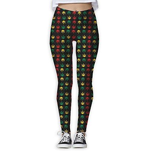 Red Sickle Leaf (Rasta Weed Cannabis Leaf Women's Slim Workout Full Length Yoga Pant Skinny Leggings Pants XL)