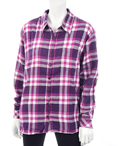 Dickies Women's Long Sleeve Plaid Flannel Shirt, Purple Penn
