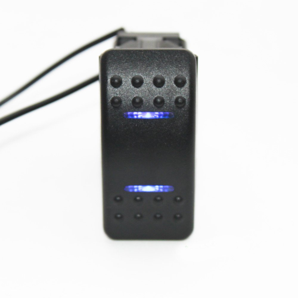 X-Haibei Waterproof MARINE BOAT CAR Rocker Switch 12V SPDT ON-OFF-ON 4 PIN Blue LED Light BT0189