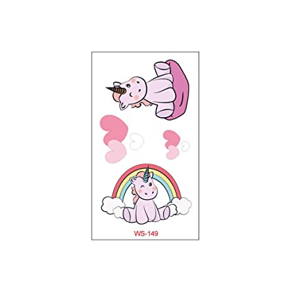 3Pcs-Unicornio tatuaje pegatinas de dibujos animados tatuaje ...