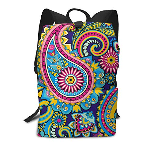 JNSHO-G Paisley Pattern Backpack for Everyday, Casual Lightweight Daypack for Travel, Bookbag, Bicycle Sport - Bag Bottle Park Paisley
