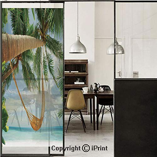(Tropical 3D Decorative Film Privacy Window Film No Glue,Frosted Film Decorative,View of Nice Hammock with Palms by the Ocean Sandy Shore Exotic Artsy Print Decorative,for Home&Office,23.6x70.8Inch Gre)