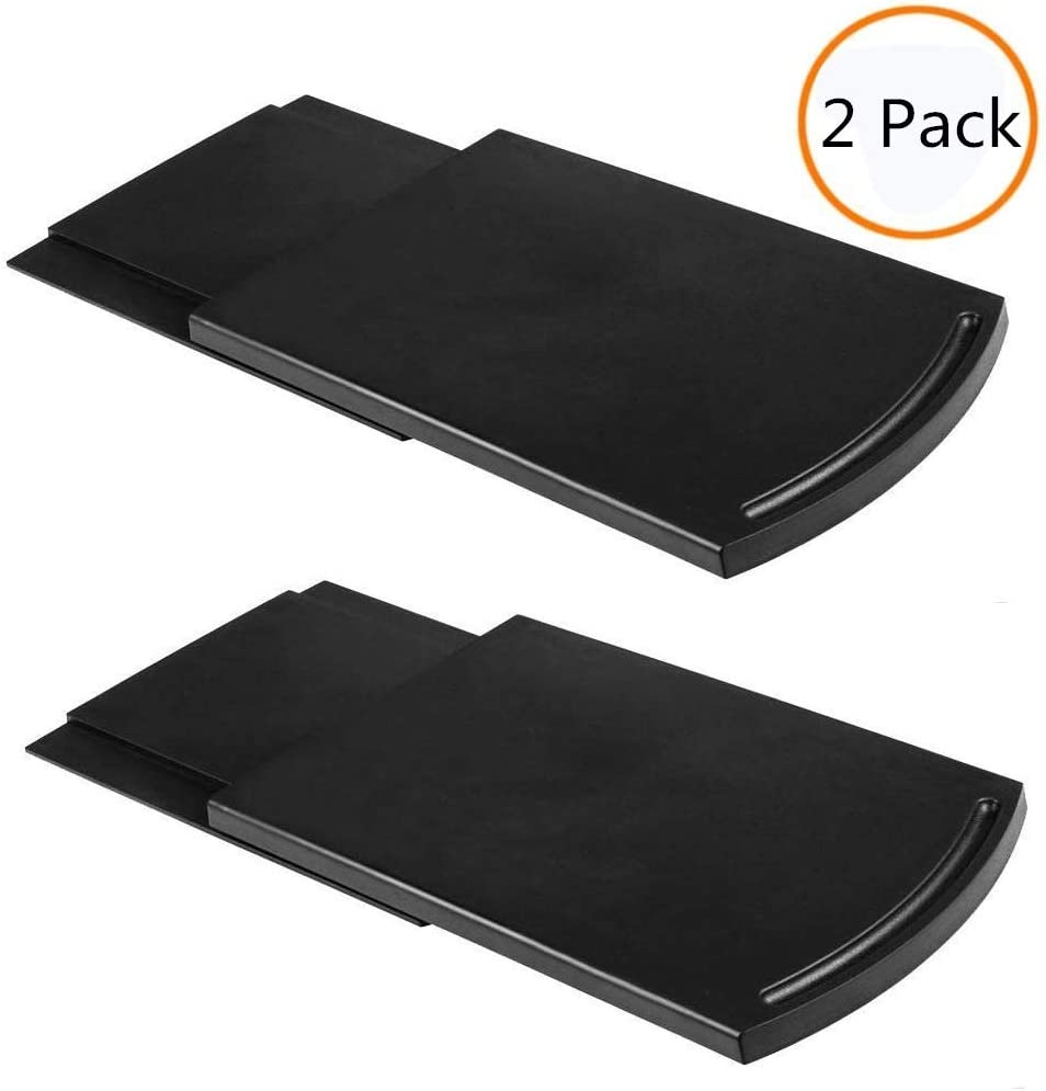 """Multiuse Caddy Sliding Coffee Tray Mat,12"""" Under Cabinet Premium BPA Free Base Sliding Shelf with Smooth Rolling Wheels,Countertop Storage for Blender Toaster Kitchen Appliances(2 Pack,Black)"""