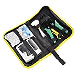 Ethernet Crimper Tool Kit, 7 Sets Matgo Network Tool Kit with Lan Crimping Tool, RJ45 Tester, 50 Pack Cat6/Cat5e Connectors, Wire Boot, Cable Marker Ties, Yellow Piler for Network Repair, Installation
