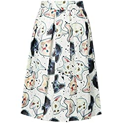 Choies Women's White Cute Cat Print High Waist Skater Midi Skirt
