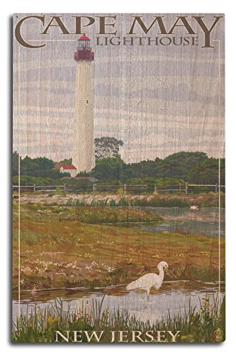 Lantern Press New Jersey Shore- Cape May Lighthouse (10x15 Wood Wall Sign, Wall Decor Ready to Hang)