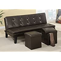 Poundex 1PerfectChoice Modern Comfort Faux Leather Espresso Sofa Bed Futon Sleeper with  2 Storage Ottoman