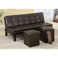 Poundex 1PerfectChoice Modern Comfort Faux Leather Espresso Sofa Bed Futon Sleeper with  2 Storage Ottoman