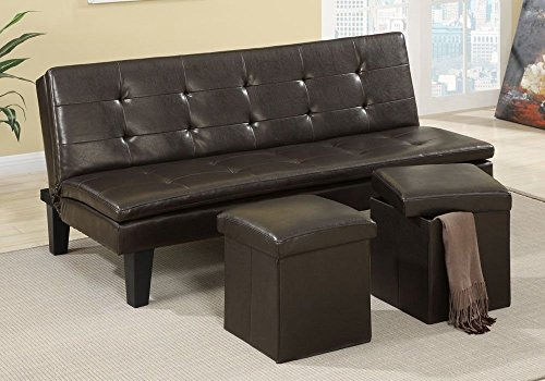 Modern Faux Leather Sofa (Poundex 1PerfectChoice Modern Comfort Faux Leather Espresso Sofa Bed Futon Sleeper with  2 Storage Ottoman)