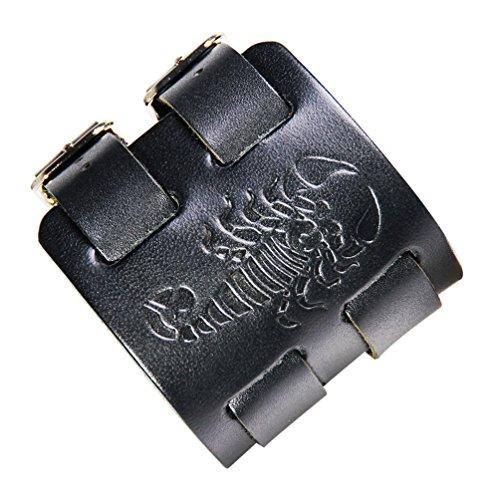 Kamellusone Hip Hop Alloy Scorpion Adjustable Leather Bracelet Bangle,7.0-8.0inches(Black) by Kamellusone