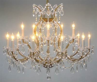"""Swarovski Crystal Trimmed Maria Theresa Chandelier Crystal Lighting Chandeliers Lights Fixture Pendant Ceiling Lamp for Dining room, Entryway , Living room H28"""" X W37"""""""