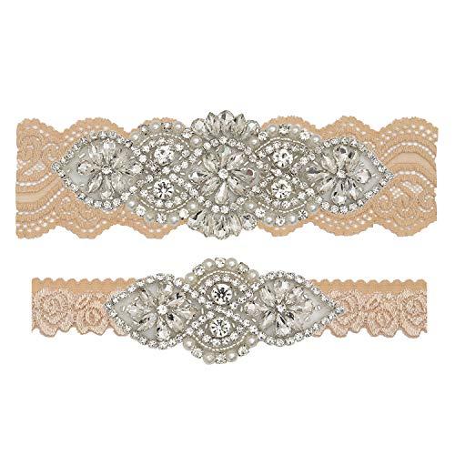 Yanstar Bridal Garter Champagne Stretch Lace Bridal Garters With Silver Rhinestones For Wedding ()
