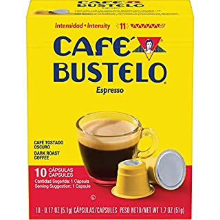 Café Bustelo Coffee Espresso Dark Roast Coffee, 40 Count Capsules for Espresso Machines, 11 Intensity