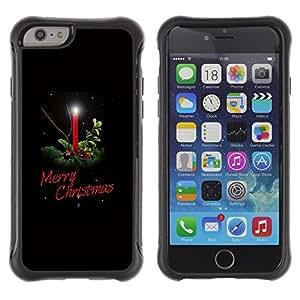 Híbridos estuche rígido plástico de protección con soporte para el Apple iPhone 6 (4.7) - christmas winter holidays black candle