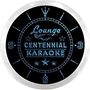 ncpk2324-b CENTENNIAL Karaoke Lounge Bar Beer LED Neon Sign Wall Clock