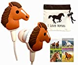 Cute Horse Headphones Gift Set with''I Love Horses'' Earbuds/Earphones Drawstring Carry Pouch and 12 Horse Stickers-Horse Gift for Girls, Kids, Tweens Birthday