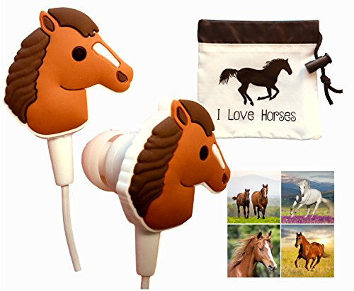 Cute Horse Headphones Gift Set with''I Love Horses'' Earbuds/Earphones Drawstring Carry Pouch and 12 Horse Stickers-Horse Gift for Girls, Kids, Tweens Birthday by Funabaloo