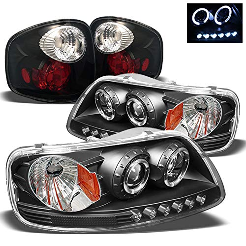 For 1997-2003 Ford F150 Flareside Black Twin Halo LED Projector Headlights + Tail Lights 1998 1999 2000 2001 2002