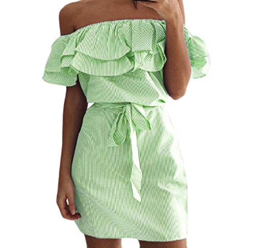 Sottile Spalla Coolred Partito In Forma Picnic Tubo Verde donne Vestito Il A Coperto Arruffate Strisce Un Ha rxSqPwr
