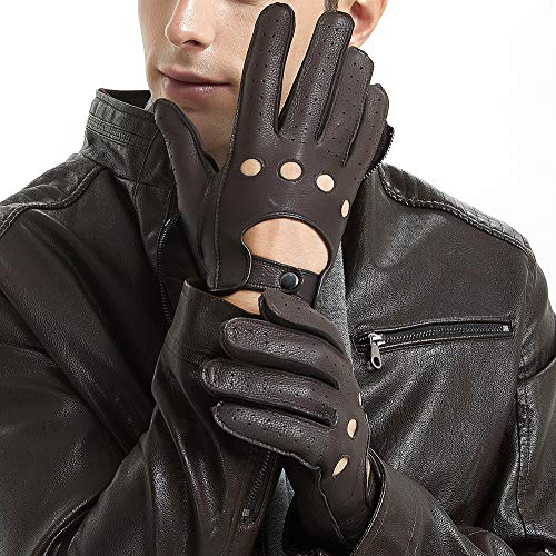 - Mens Smart Soft And Excellent Quality Italian Deerskin Brown Leather Driving Gloves For Men