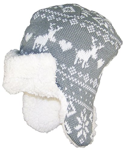 Gold Medal Kids Jacquard Russian Fleeced Lined Ear Flap Hat (One Size) - Gray/White (Lined Aviator)