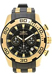 Invicta Men's Pro Diver Gold-Tone Polyurethane Band Steel Case Swiss Quartz Black Dial Analog Watch 22340