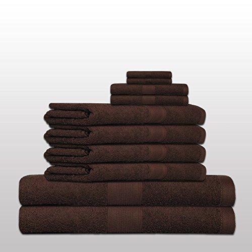 10 tlg. klassisches Handtuch-Set - Qualität 500 g/m² - alle Farben - 4x Handtücher - 2x Duschtücher - 2x Gästetücher - 2x Waschhandschuhe - 100% Baumwolle - braun / schoko