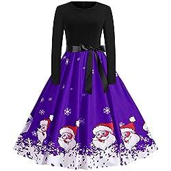 Flared Dresses for Women,Women's Long Sleeves Christmas Dresses Printed Tunic Dress HunYUN
