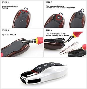 Fassport Compatible avec la cl/é de la Porsche 3-5920/- Plusieurs couleurs disponibles Coque pour cl/és de voiture Peinture m/étallique