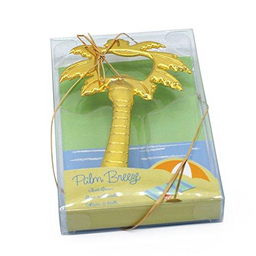 Palm Breeze Coconut Tree Shaped Bottle Opener Bridal Shower Tropical Beach Wedding Favor Set of 20 (Gold, 20)