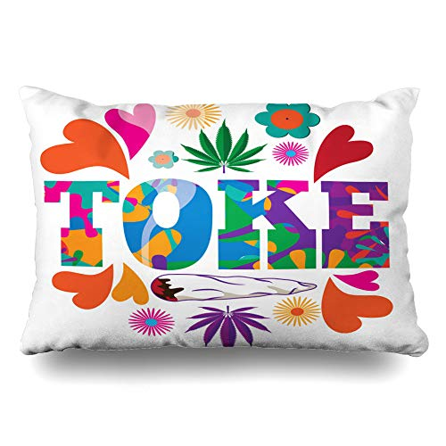 Ahawoso Throw Pillow Cover Queen 20x30 Drug Rasta Sixties Mod Leaf Psychedelic Abstract Purple Weed Addiction Joint Zippered Cushion Case Home Decor Pillowcase