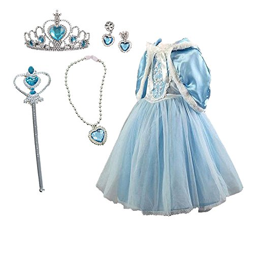 Tokyo Girl Halloween Costume (TOKYO-T Girls Elsa Inspired Costume Cinderella Dress Princess Party with Tiara Set Size 4)