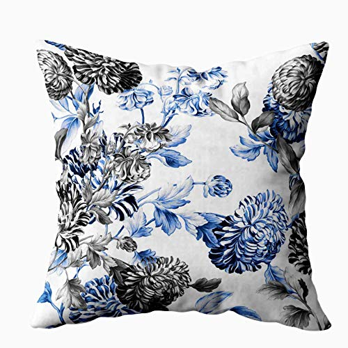(Shorping Zippered Pillow Covers Pillowcases 16X16 Inch periwinkle blue black white botanical floral toile Decorative Throw Pillow Cover,Pillow Cases Cushion Cover for Home Sofa Bedding )