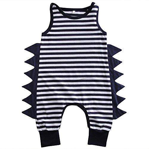 Baby Boy Girl Cotton Dinosaur Romper Sleeveless Harem Jumpsuit Playsuit Outfit 0-24M (70(0-6 Months), Navy Blue) ()