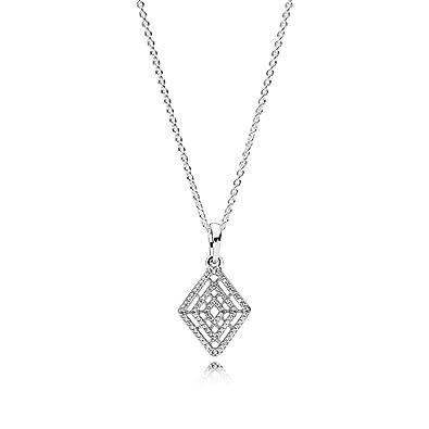 e095f4956493c Amazon.com: Pandora Geometric Lines Necklace and Pendant, Clear CZ ...