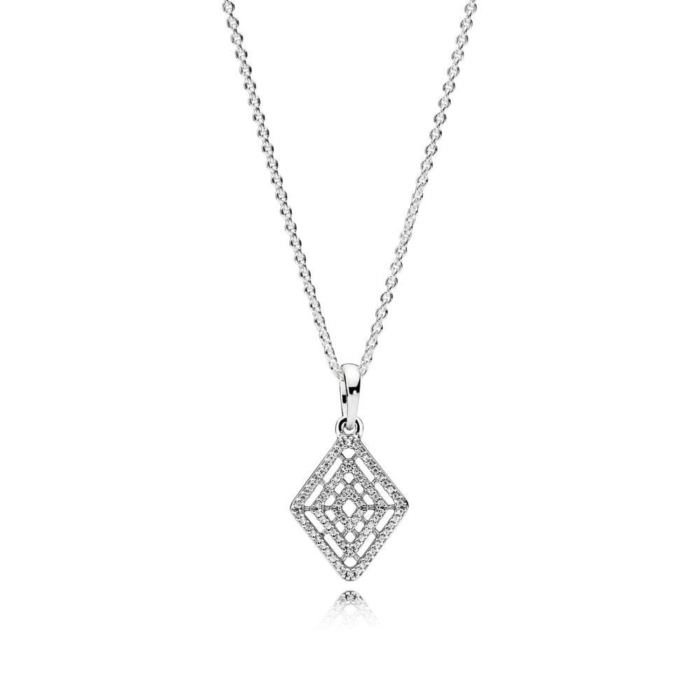 Pandora Geometric Lines Necklace and Pendant, Clear CZ 396209CZ-60 Centimeters 23.6 Inches