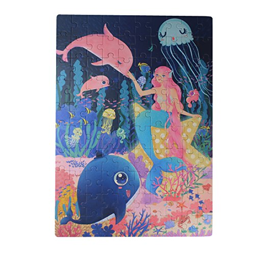 Meshion 100 Pieces Jigsaw Puzzles -Mermaid -Beautiful Design,for 4-7 Years Old Kids Children Girls by Meshion